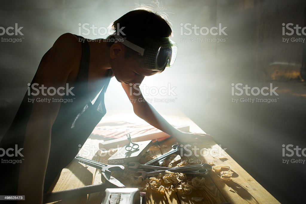 Repairs in workshop stock photo