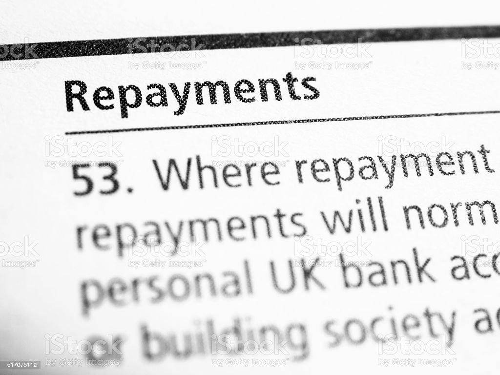 Repayments stock photo