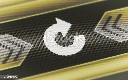 istock Repeat icon on the screen. 1075965100