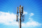 A mobile phone tower has rays symbolizing communication spreading out from it.