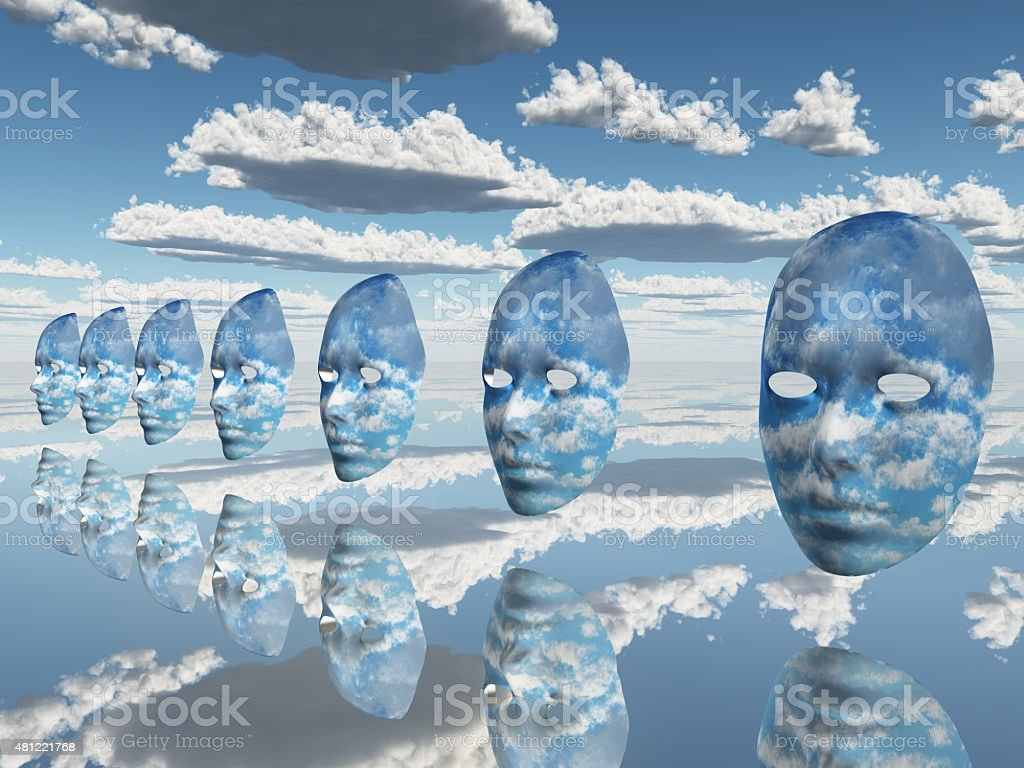 Repeating faces of clouds stock photo