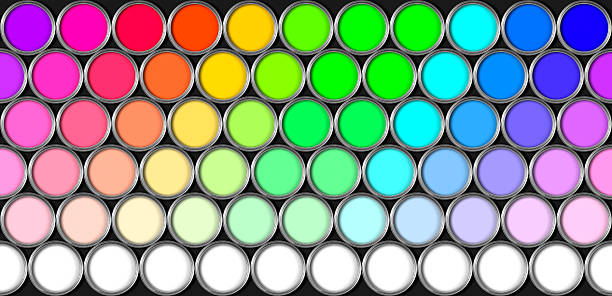 Repeating pattern of multi coloured paint tins stock photo