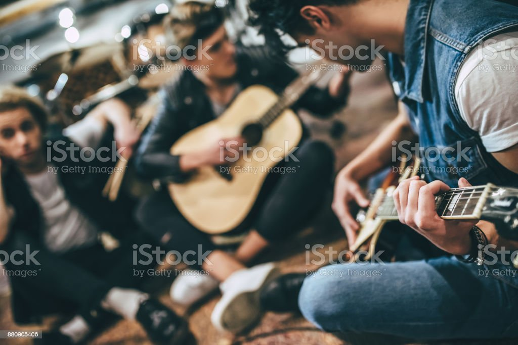 Repetition of rock music band. stock photo