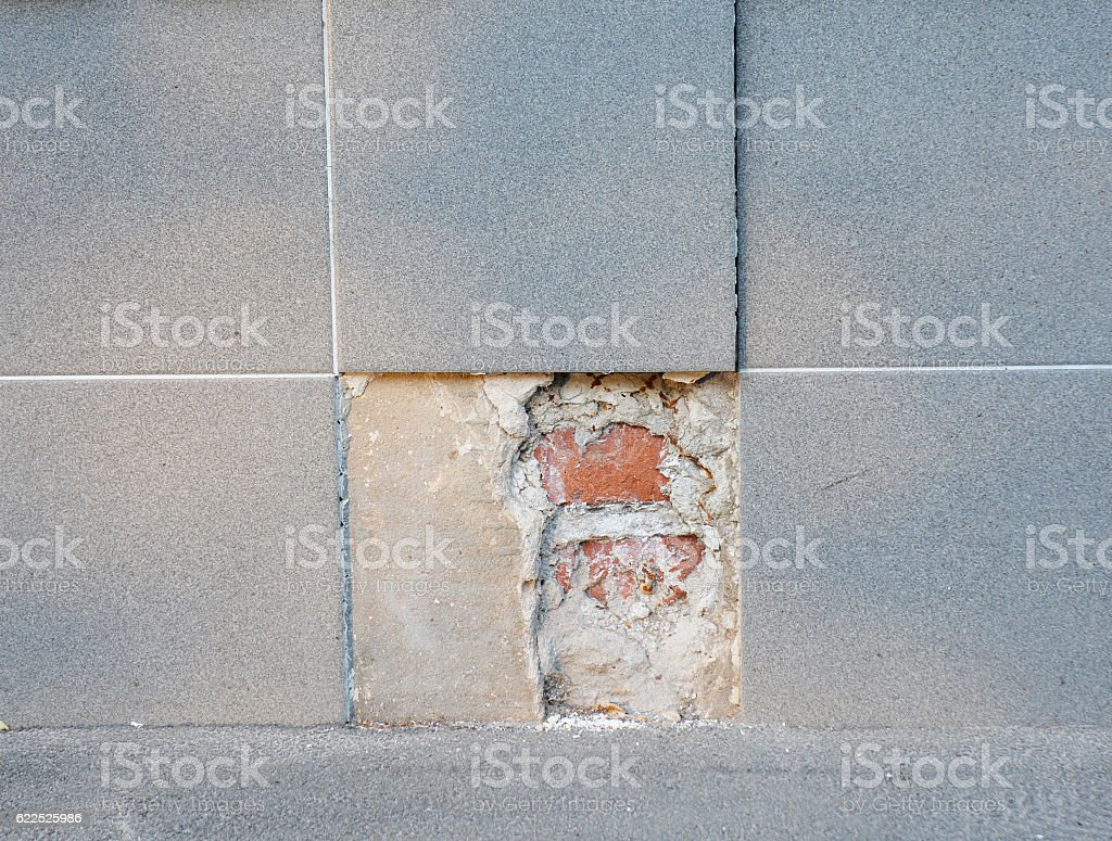 Replace Portions Of Broken Porcelain Tile Flooring Stock Photo ...