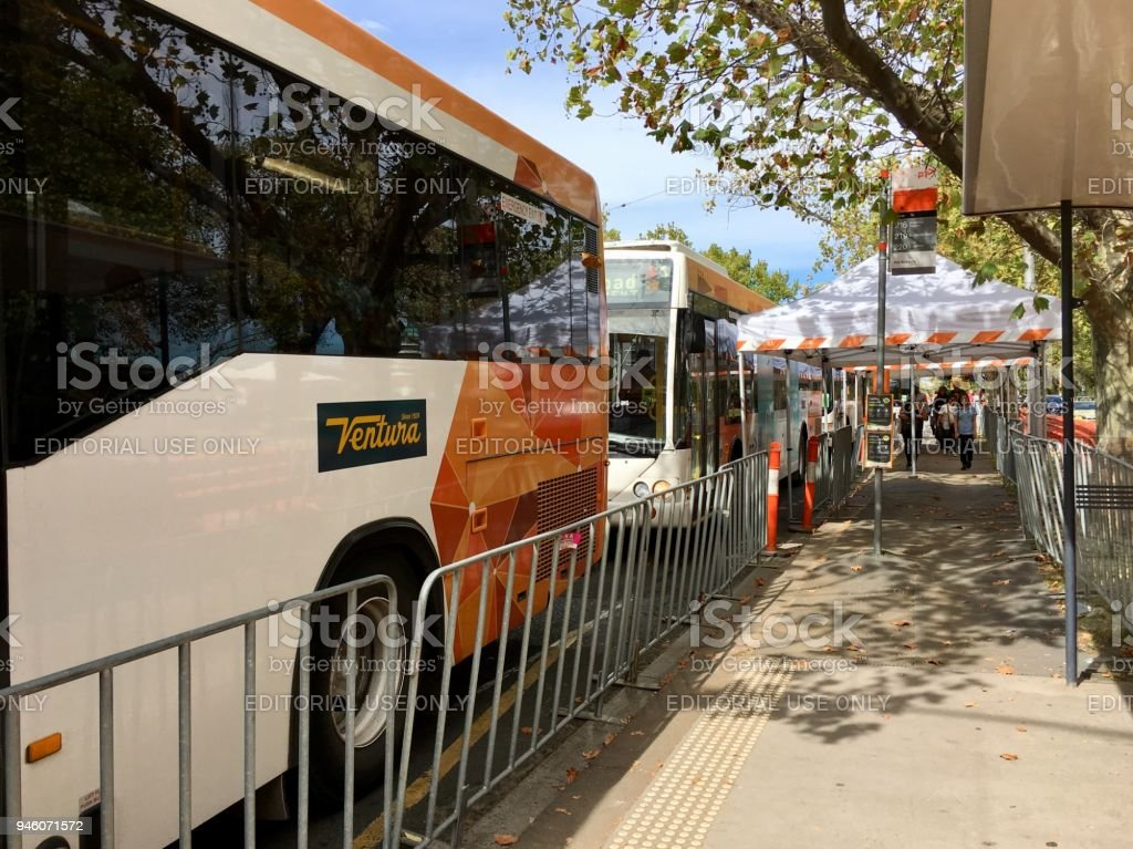 Replacement bus during the roadworks on St Kilda Road stock photo