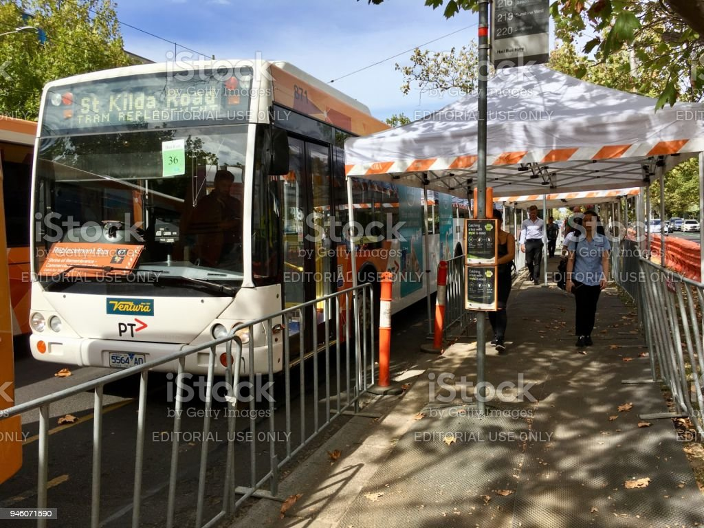 Replacement bus on St Kilda Road during maintenance work. stock photo