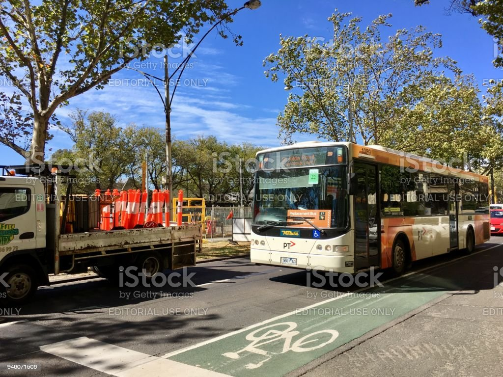Replacement Bus on St Kilda Road - Melbourne stock photo