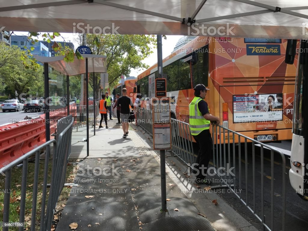 Replacement buses during roadworks on St Kilda Road stock photo