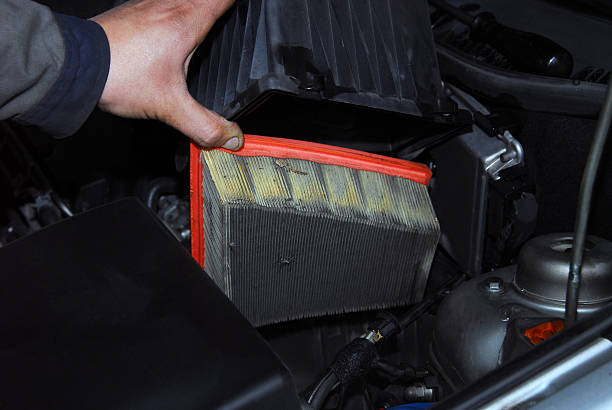replacement of air filter stock photo