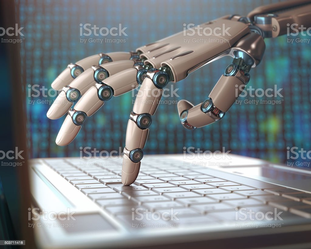 Robotic hand, accessing on laptop, the virtual world of information....