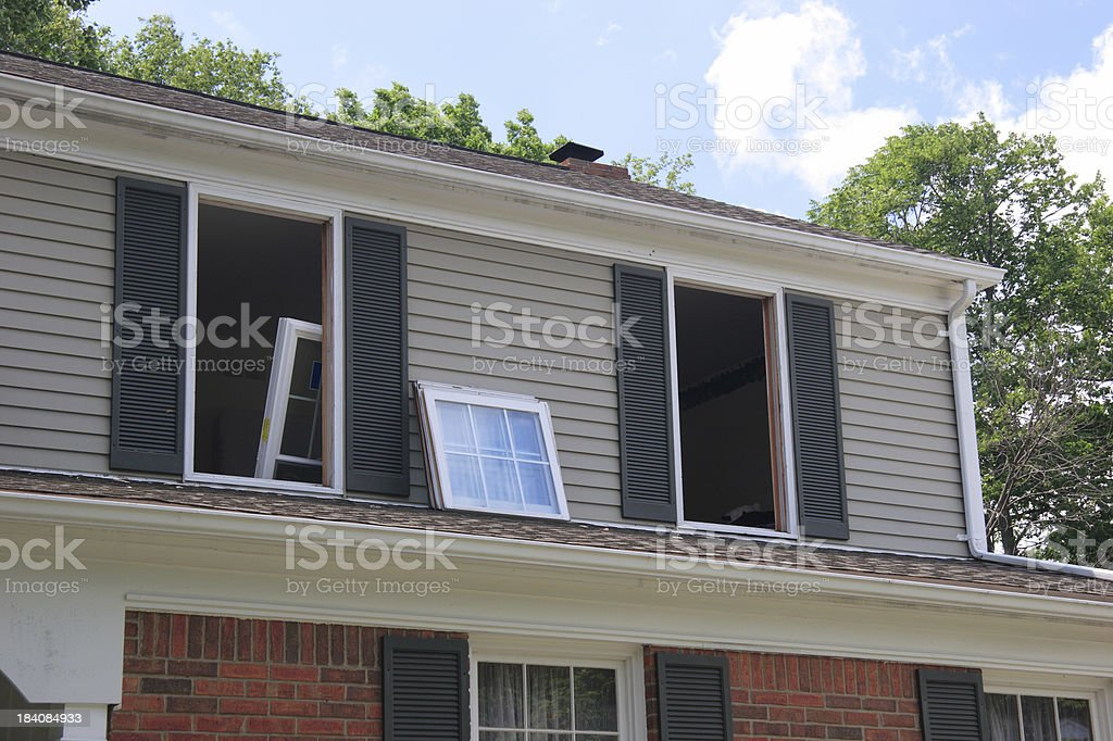 Replacement Windows Being Installed in House royalty-free stock photo