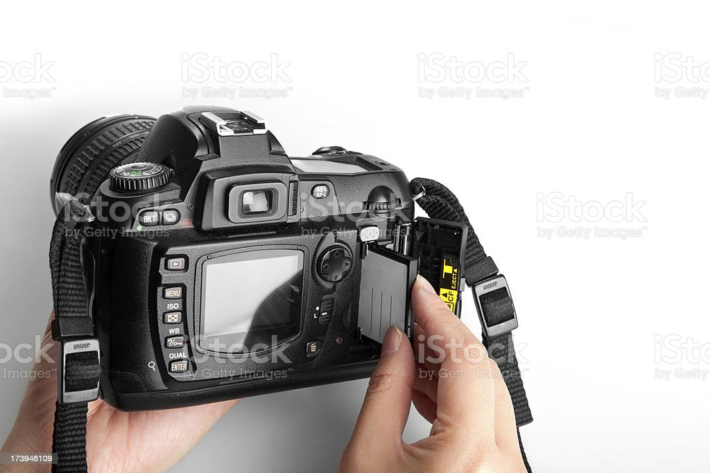 Replacing a compact flash card stock photo