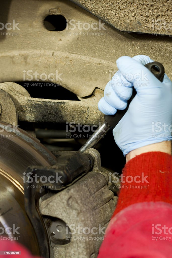 Replacing a Disk Brake Caliper royalty-free stock photo