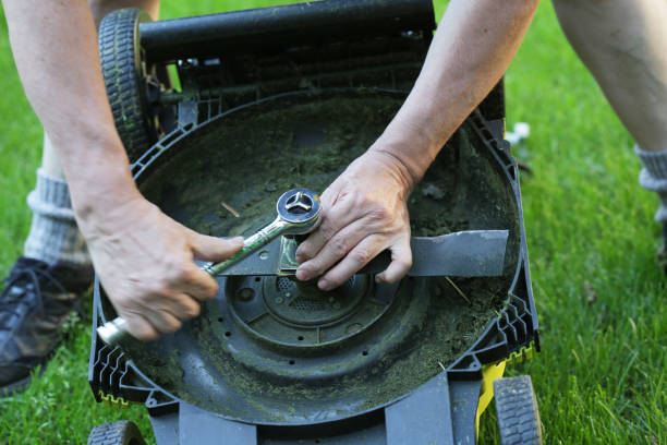 DIY Replacing a Lawn Mower Blade stock photo