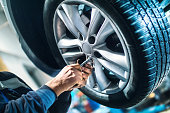 istock Replacing car wheel and tyre. 498888104