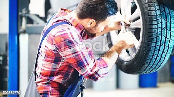 498888104 istock photo Replacing car wheel and tyre. 502389770
