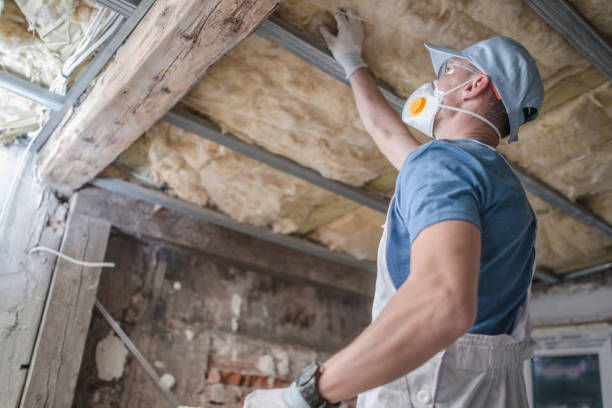 Replacing Old Attic Mineral Wool Insulation. stock photo