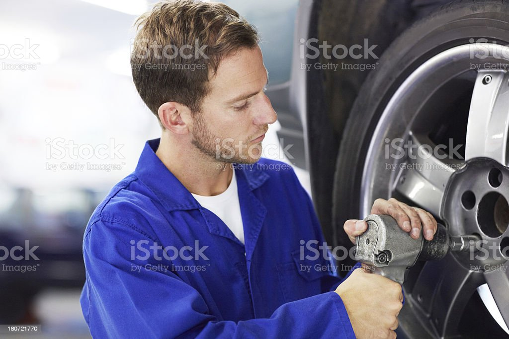Replacing old tyres with new ones royalty-free stock photo