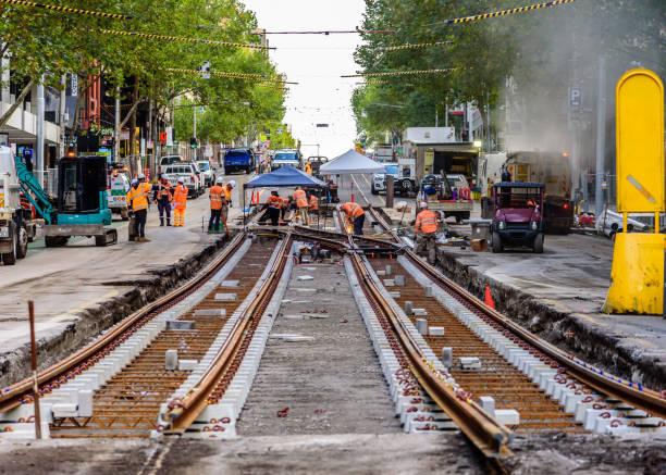 Replacing tram tracks stock photo