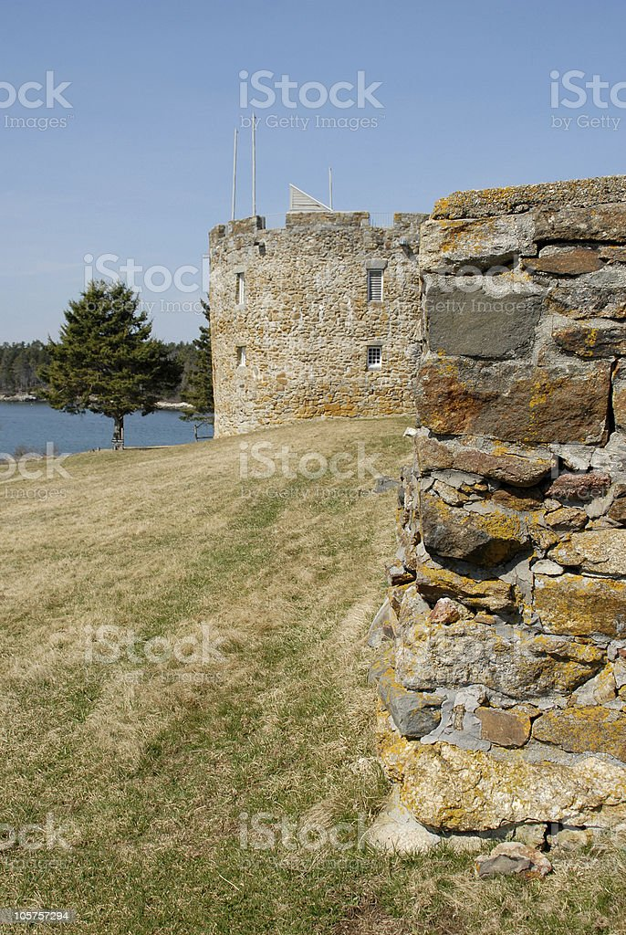 Replica Colonial fort guards the Pemaquid Peninsula royalty-free stock photo