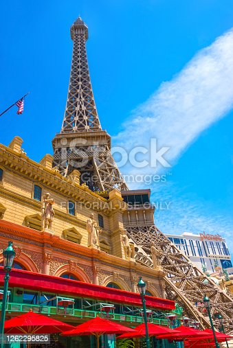 Las Vegas, United States of America - May 05, 2016: Replica Eiffel Tower in Las Vegas with clear blue sky on The Strip, the world famous Las Vegas Boulevard South at Las Vegas, United States of America on May 05, 2016