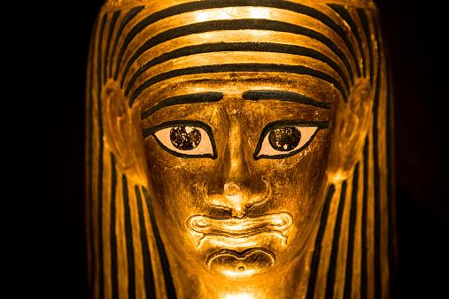 Replica model of an ancient Egyptian pharoah sarcophagus