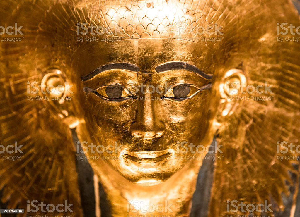Replica model of an ancient Egyptian pharoah sarcophagus stock photo