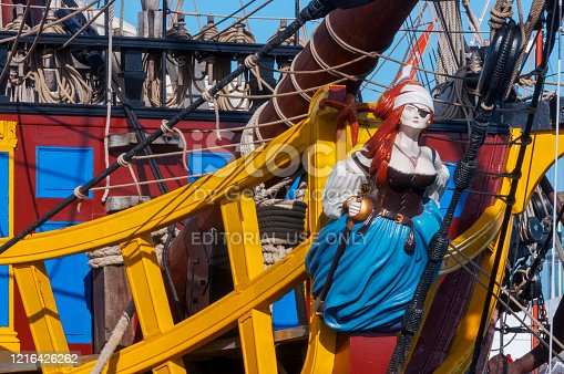 Saint-Malo, France -October 31, 2014: L' Etoile du Roy (The Kings Star) is a replica of a corsair pirate ship anchored in the port of Saint-Malo in the Brittany region of France.