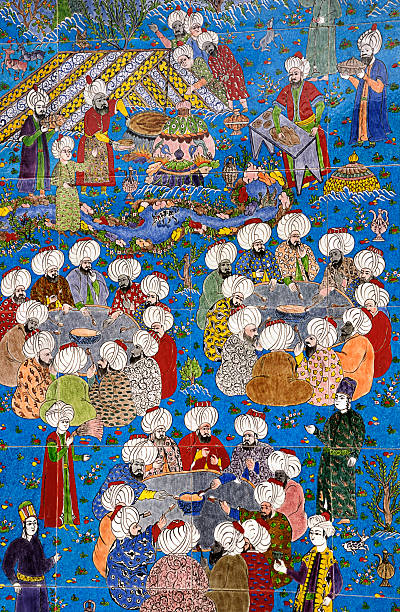 Replica of an Ancient Ottoman Painting Called Miniature stock photo