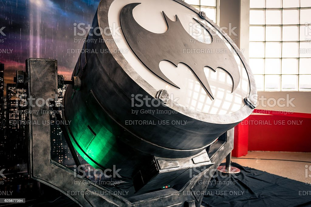 Replica of 'Bat-Signal' device at Yorkshire Cosplay Convention stock photo