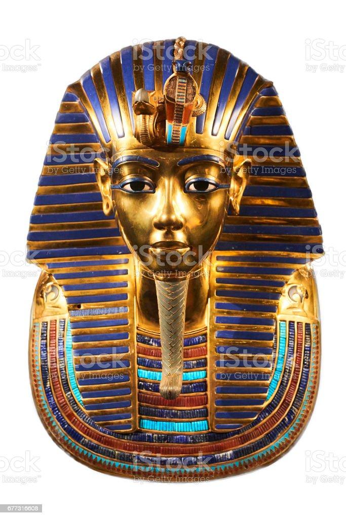 Replica of funerary golden mask of Tutankhamun stock photo
