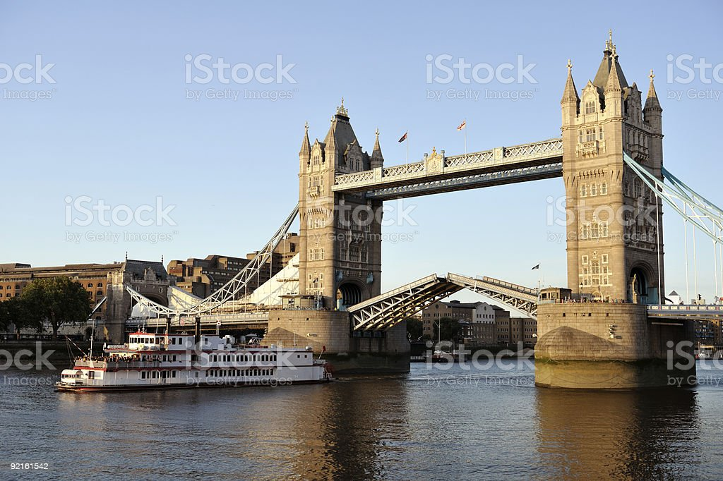 Replica of old Mississippi paddleboat passing though Tower Bridge, London royalty-free stock photo