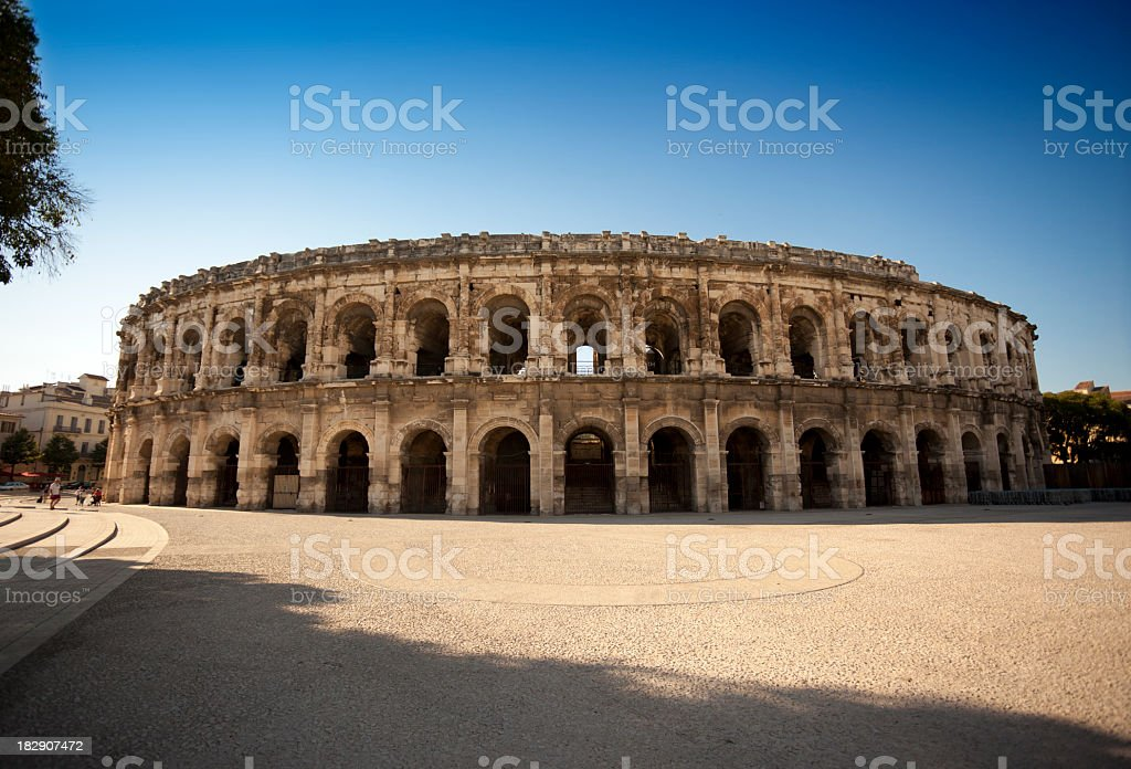 Replica of Roman Coliseum in Nimes France stock photo