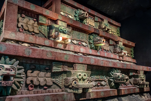 Replica of Teotihuacan Temple at National Museum of Anthropology (Museo Nacional de Antropologia, MNA) - Mexico City, Mexico