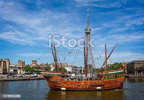 Replica of the 15th Century Tall ship The Matthew in Bristol, Avon, UK taken on 6 June 2018