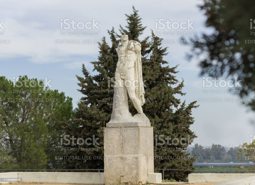 Replica of the heroic sculpture of Trajan in Itálica Replica of the heroic sculpture of Trajan in Itálica, Santiponce, Spain, March 2, 2019 Ancient Rome Stock Photo