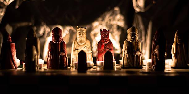 Replica of the Lewis Chessmen stock photo