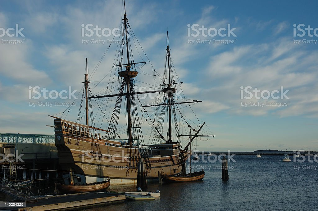 A replica of the Mayflower docked on a beautiful day stock photo