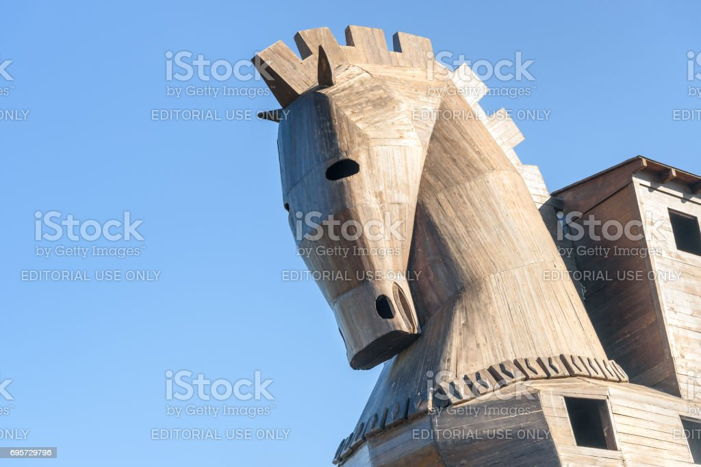 Replica of wooden Trojan horse in ancient city Troy. Turkey stock photo