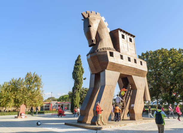 Nachbau des hölzernen Trojanisches Pferd in die antike Stadt Troja. Turkei – Foto