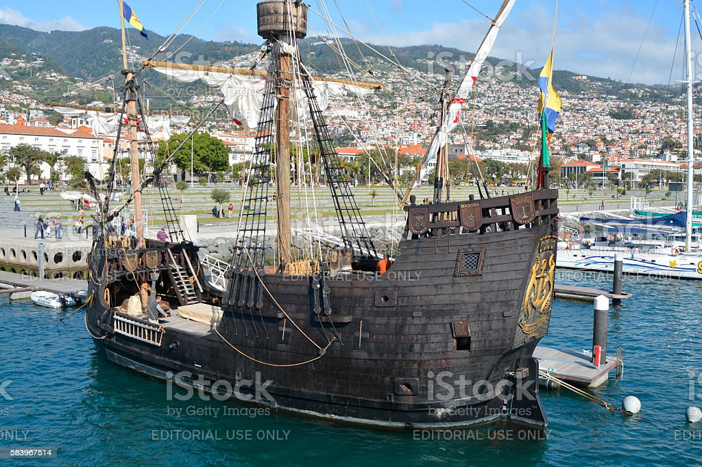 Replica sailing ship in Funchal, Madeira, Portugal stock photo