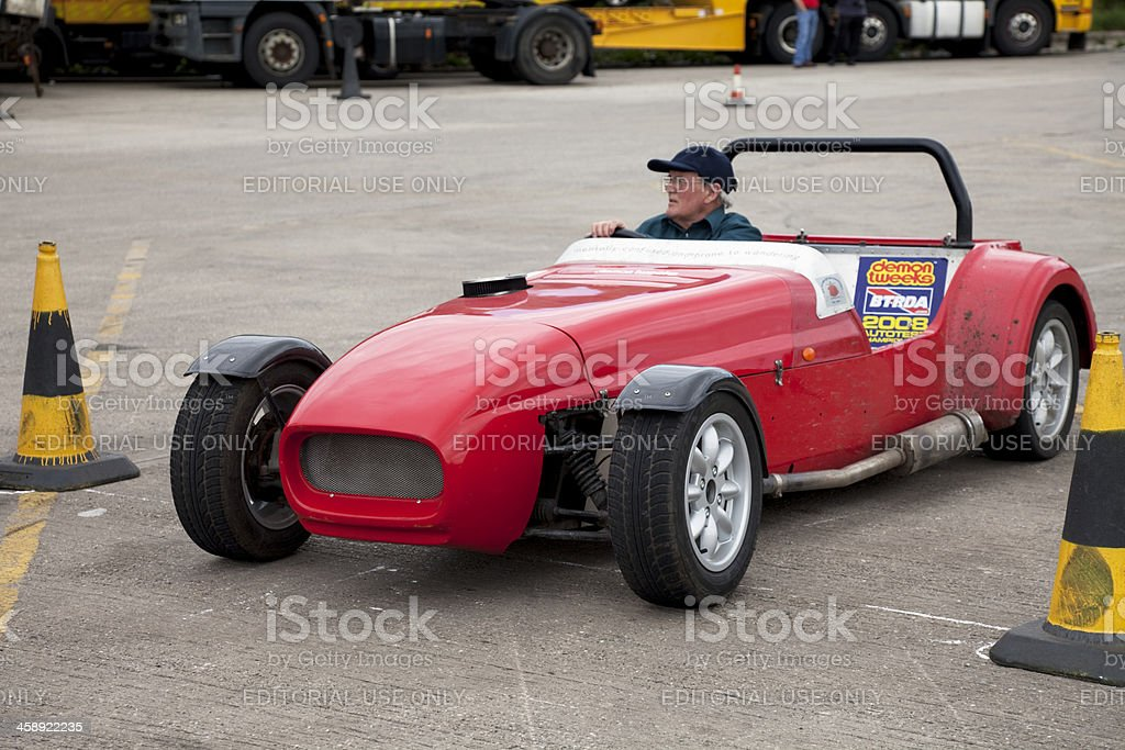 Replica sports car at autocross rally event stock photo