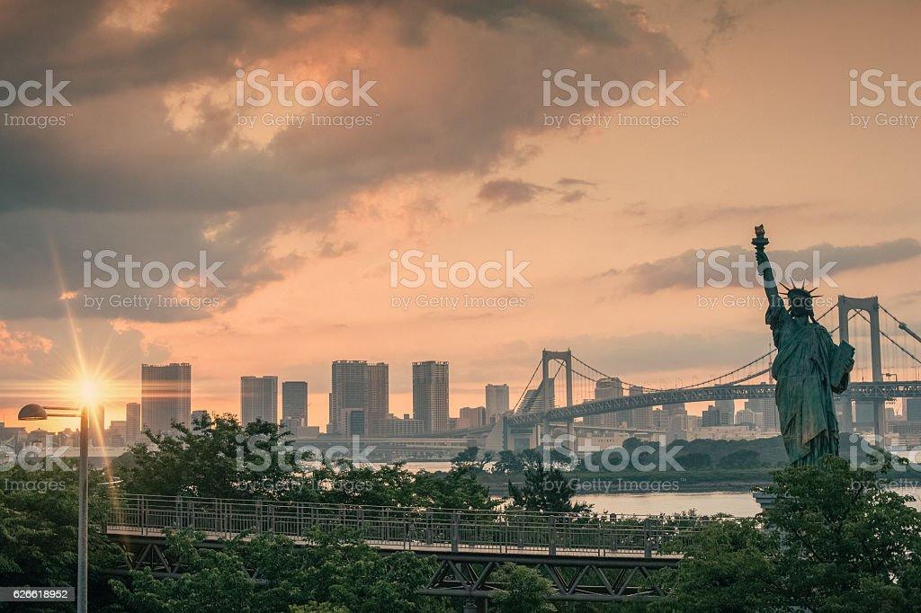 Replica statue of Liberty,Tokyo city stock photo