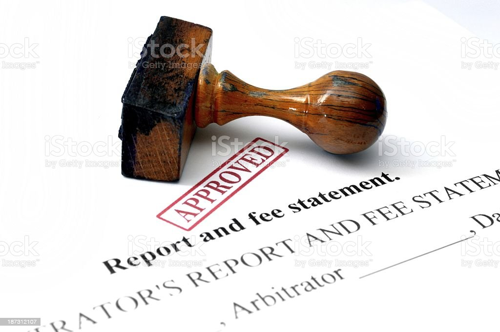 Report and fee statement stock photo