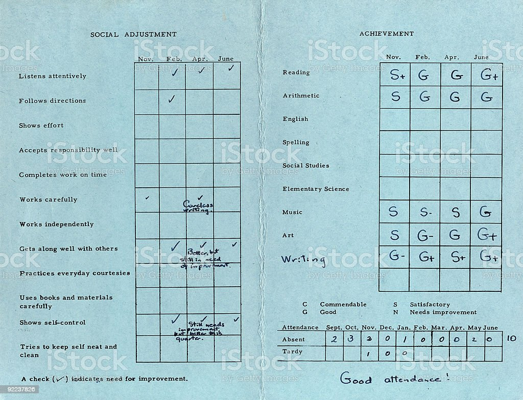 Report Card 1963 stock photo