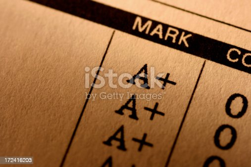 Perfect grades on a student's school report card. Ample copy space.For more of my Education images click below: