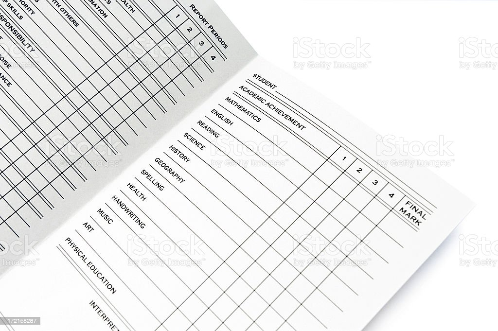 report card spread-grades side royalty-free stock photo