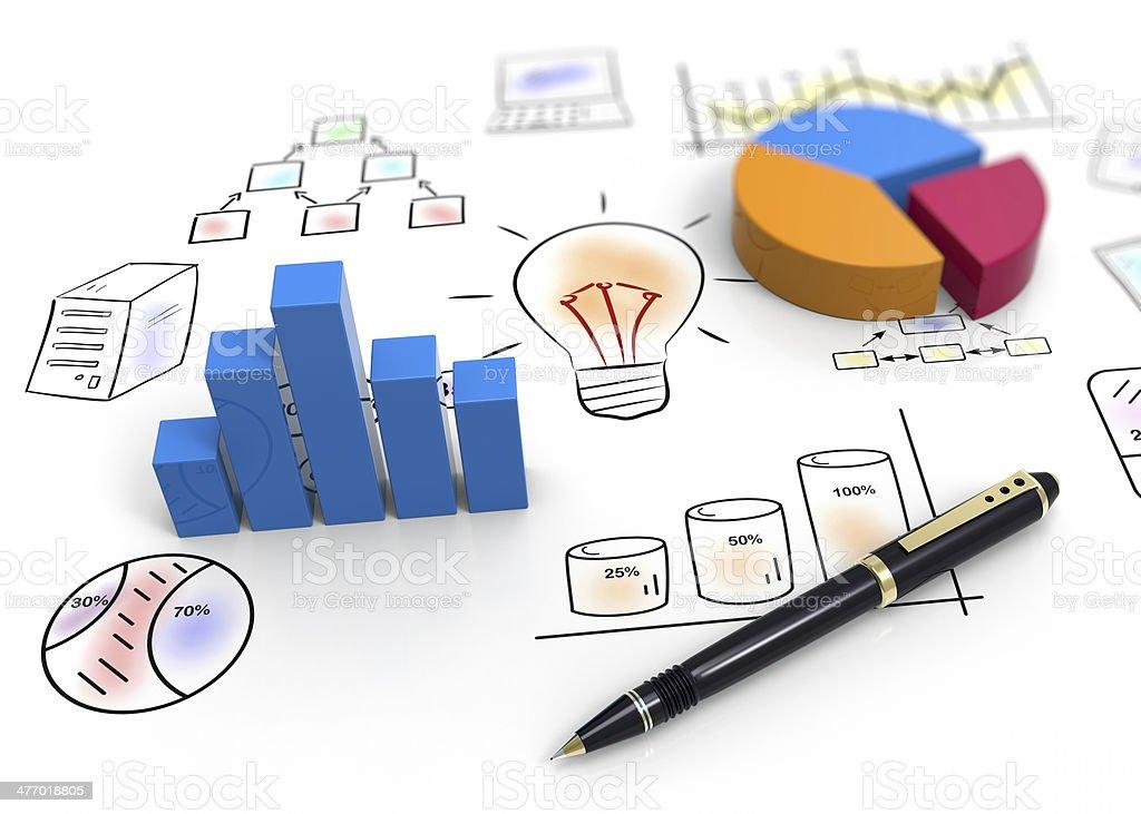 Report charts stock photo