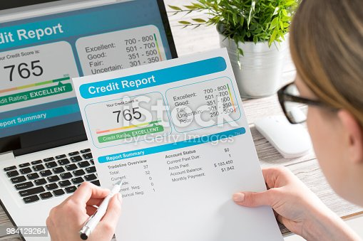 istock report credit score banking borrowing application risk form 984129264