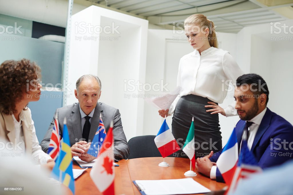 Report for colleagues stock photo
